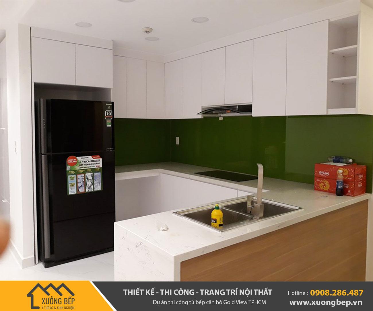 Dự án thiết kế thi công lắp đặp tủ bếp căn hộ Gold View TPHCM DA3